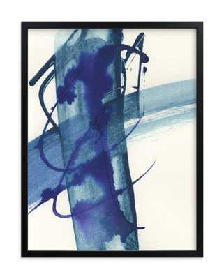 modern blue one - 18'' x 24''- black wood frame - Minted