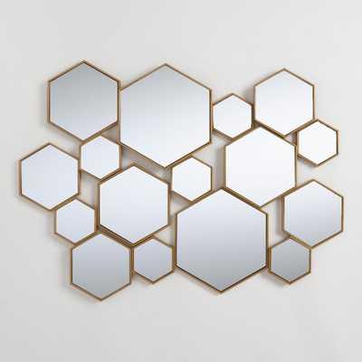 Brass Metal Hexagon Mirror Panel: Metallic/Gold by World Market - World Market/Cost Plus