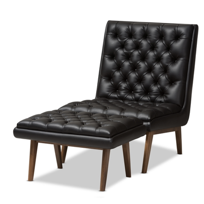 BAXTON STUDIO ANNETHA MID-CENTURY MODERN BLACK FAUX LEATHER UPHOLSTERED WALNUT FINISHED WOOD CHAIR AND OTTOMAN SET - Lark Interiors