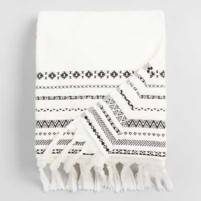 Ivory and Black Tribal Striped Zohra Bath Towel by World Market - World Market/Cost Plus
