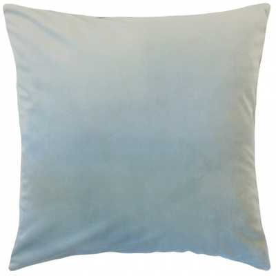 "Nizar Solid Pillow Sky Blue 22"" x 22"" - Down insert included - Linen & Seam"