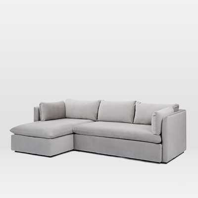 Shelter 2-Piece Chaise Sectional - Dove Gray -   Right Arm Sofa + Left Arm Chaise - West Elm