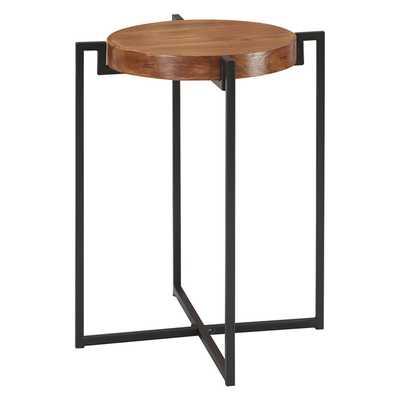 Nordic Round Tray End Table Dark Walnut/Black - Johar - Target