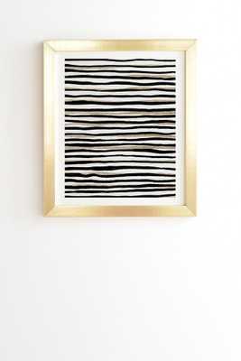 "BLACK AND GOLD STRIPES Wall Art - 11"" x 13"" - Basic Gold Frame - Wander Print Co."