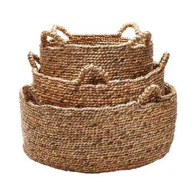 S/3 Natural Low Rise Baskets - Rosen Studio
