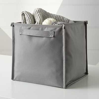 Canvas Grey Cube Bin - Crate and Barrel
