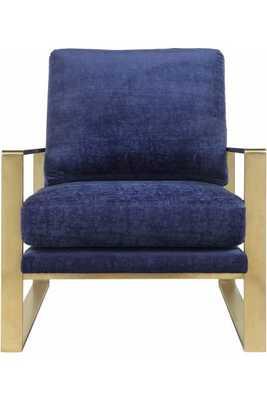 Zara Navy Slub Velvet Chair - Maren Home
