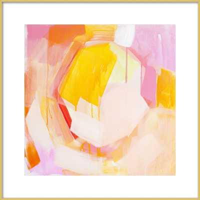 """Peachy Keen - 26x26"""" - Frosted Gold Metal Frame with Matte - Artfully Walls"""