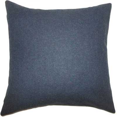 "Eire Solid Pillow Blue - 20""x20''- Down Insert - Linen & Seam"