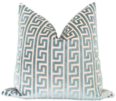 "Greek Key Cut Velvet // Teal 18""x18"" - Little Design Company"