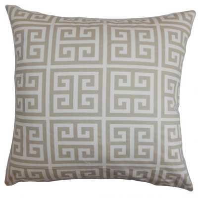 "Paros Greek Key Pillow Gray White - 18"" x 18"" - Polyester Insert - Linen & Seam"