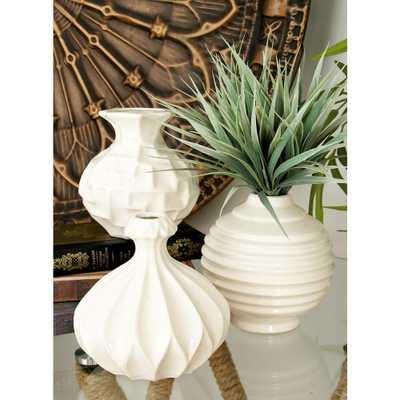 6 in. Sculpted White Ceramic Decorative Vases (Set of 3) - Home Depot