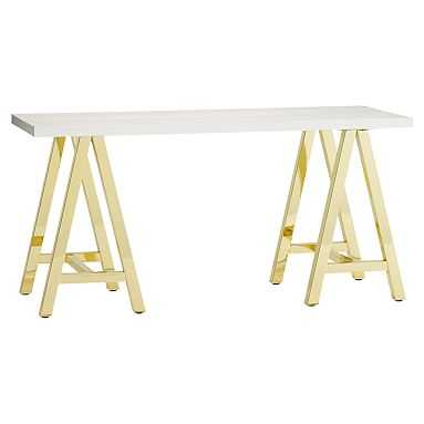 Customize It Simple Small Wood Desk Metal A Frame, Simply White with Gold Base - Pottery Barn Teen