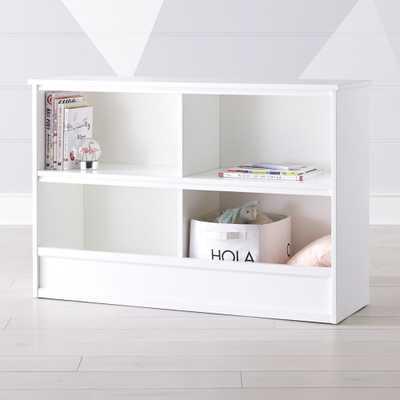 Horizon Wide White Bookcase - Crate and Barrel