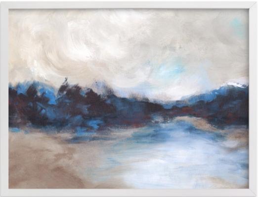 "Saint Mary's Lake Wall Art - 40"" x 30"" Classic White Frame - Minted"