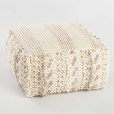 Neutral Stripe Boho Shag Pouf: White by World Market - World Market/Cost Plus