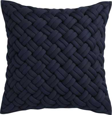 "20"" jersey interknit navy pillow with down-alternative insert - CB2"