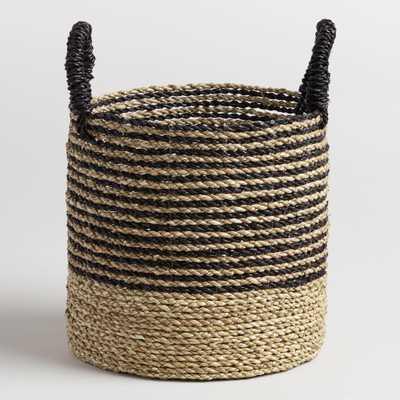 Small Black and Natural Seagrass Calista Tote Basket: Black/Natural by World Market - World Market/Cost Plus