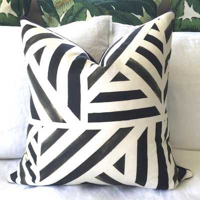 "Paint Lines Pillow Cover - Charcoal Black - 18"" x 18"" - Without Insert - Willa Skye"