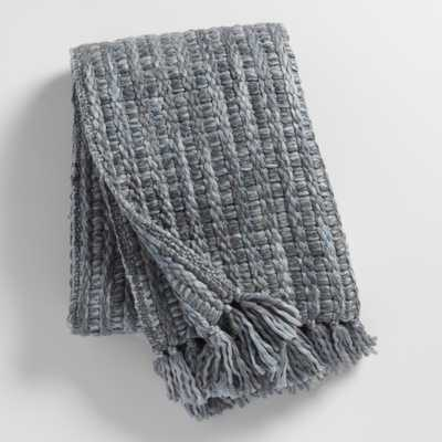 Slate Gray Knit Throw Blanket - Acrylic  by World Market - World Market/Cost Plus