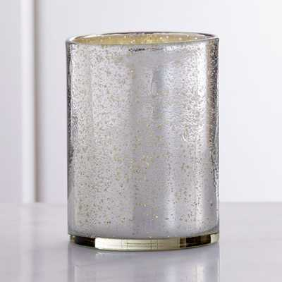 Bubbled Silver Hurricane Candle Holder - LARGE - Crate and Barrel