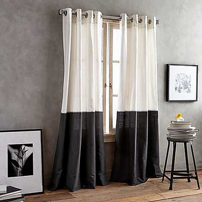 DKNY Color Band 95-Inch Grommet Top Window Curtain Panel in Black - Bed Bath & Beyond