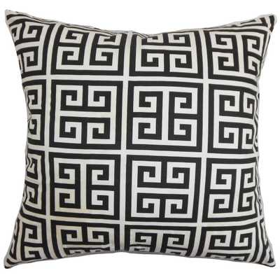"Paros Greek Key Pillow Black White - 18"" x 18"" - Polyester Insert - Linen & Seam"