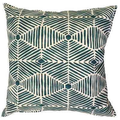 "Iakovos Geometric Pillow Blue-20"" x 20""- Down Insert - Linen & Seam"