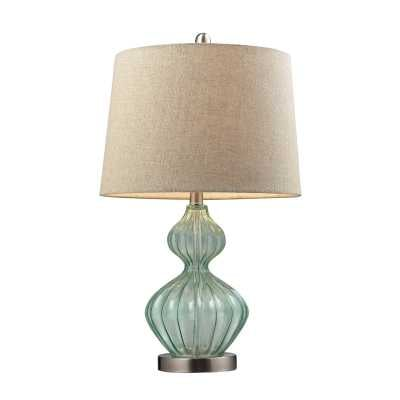 Smoked Glass Table Lamp In Pale Green With Metallic Linen Shade - Rosen Studio