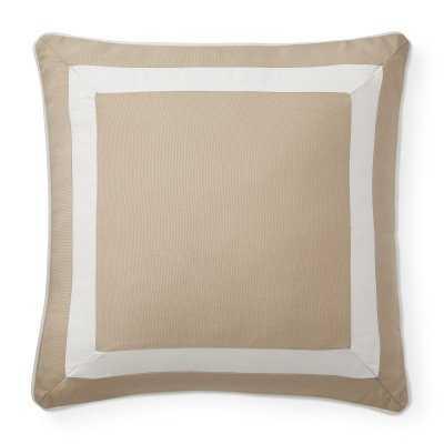 "Sunbrella Outdoor Solid Pillow Cover with White Border, 20"" X 20"", Sand - Williams Sonoma"