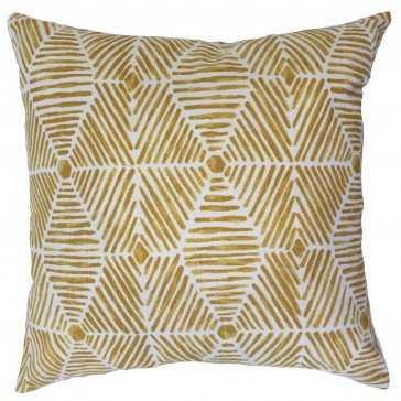 "Lakovos Geometric Pillow Golden Rod - 18"" x 18"" - With Poly Insert - Linen & Seam"