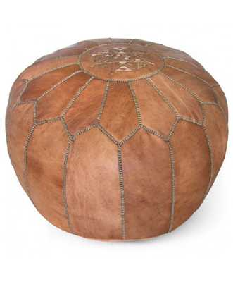 Kenza Moroccan Pouf - Dark Tan - Lulu and Georgia