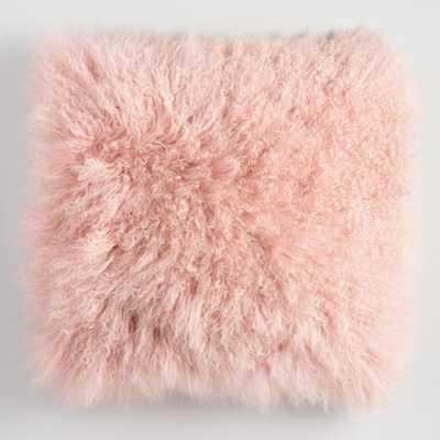 "Blush Mongolian Lamb Fur Throw Pillow: Pink - Faux Fur - 18"" Square by World Market - World Market/Cost Plus"