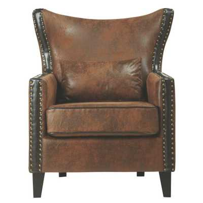 Meloni Faux Suede Brown Bonded Leather Arm Chair - Home Depot