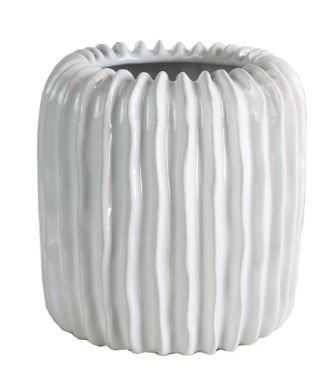 Ridge Ceramic Vase, White - High Street Market