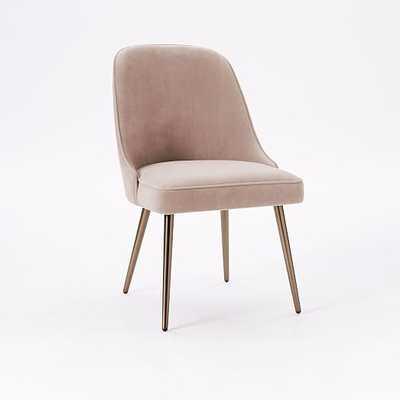 Mid-Century Upholstered Dining Chair - Distressed Velvet, Light Pink - West Elm