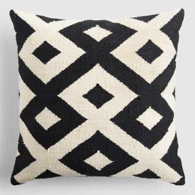 "Black and Ivory Geometric Indoor Outdoor Patio Throw Pillow - Polyester - 18"" Square by World Market - World Market/Cost Plus"