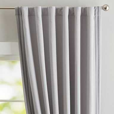 Dockside Stripe Blackout Drape, 96'', Gray/Charcoal - Pottery Barn Teen