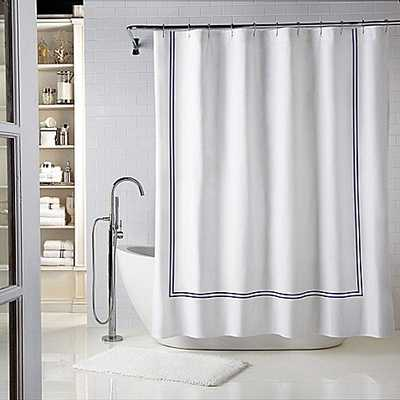 Wamsutta® Baratta Stitch 72-Inch x 84-Inch Shower Curtain in White/Navy - Bed Bath & Beyond