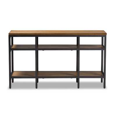 BAXTON STUDIO CARIBOU RUSTIC INDUSTRIAL STYLE OAK BROWN FINISHED WOOD AND BLACK FINISHED METAL CONSOLE TABLE - Lark Interiors