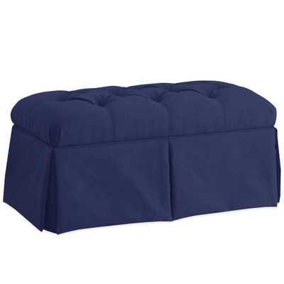 Skyline Furniture Skirted Storage Bench in Velvet Navy - Buy Buy Baby