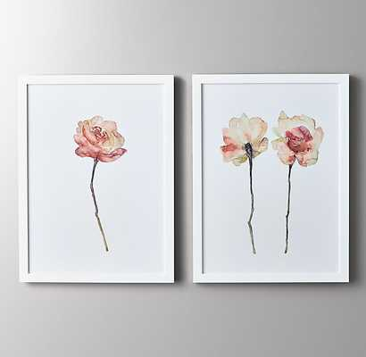 "Watercolor Flower Art - Pink-single-27"" x 36""-White Frame - RH Baby & Child"