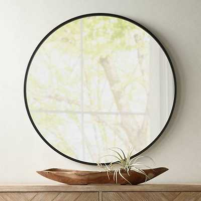 "Mayfair Matte Black 34"" Round Wall Mirror - Lamps Plus"