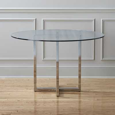 """silverado chrome 47"""" round dining table"" - CB2"