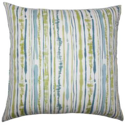 "Jumoke Striped Pillow Aqua Green - 18"" x 18"" - Down - Linen & Seam"