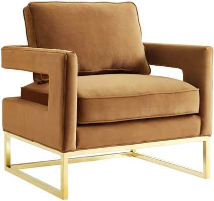 Alex Cognac Velvet Chair - Maren Home