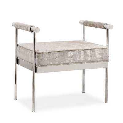 Demree Silver Textured Bench - Maren Home