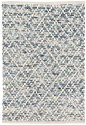 MELANGE DIAMOND BLUE WOVEN COTTON RUG 8x10 - Dash and Albert