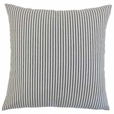 "Ira Stripes Pillow Black-18"" x 18""-Polyester Insert - Linen & Seam"