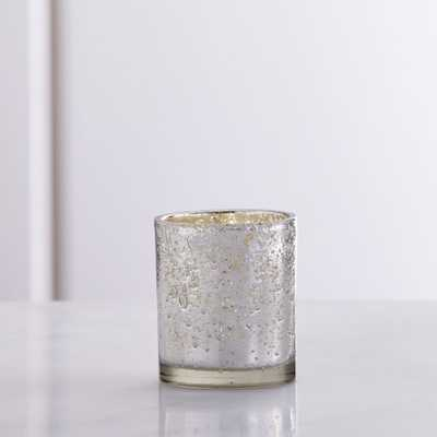 Bubbled Silver Glass Tea Light Candle Holder - SMALL - Crate and Barrel
